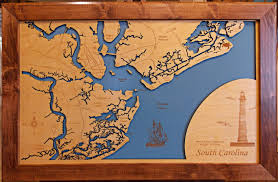 Map Of Charleston South Carolina Charleston South Carolina Wood Laser Cut Coastal Map Framed