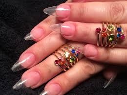stiletto clear acrylic nails youtube