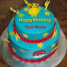 write cute pokemon birthday wishes cake