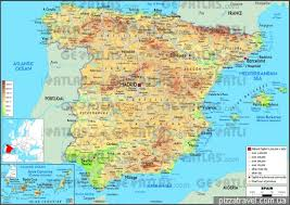 physical map of spain spain about interesting places