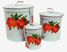 Stainless Steel Canisters Kitchen Amazon Com White Canister Set W French Chic Red Roses Vintage