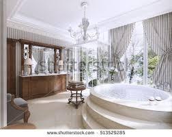 large bathroom large bath window brown stock illustration