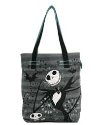 nightmare before gray applique jersey tote