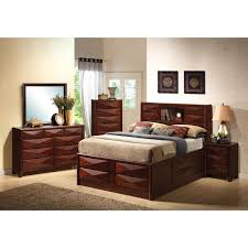 Queen Headboard Bookcase Bedroom Walnut Flat Platform Bed Frame With Storage Drawer And
