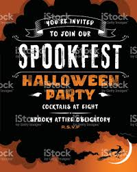 halloween party invite with a witch on her broomstick stock vector