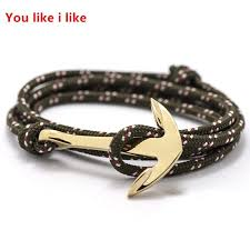 rope bracelet with anchor images Alloy anchor bracelet multilayer rope bracelet for women men jpg