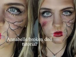 annabelle broken doll halloween makeup youtube