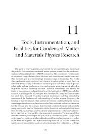 11 tools instrumentation and facilities for condensed matter and