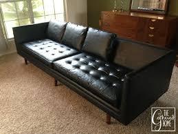 Modern Black Sofas Found Mid Century Modern Black Leather Sofa The Gathered Home