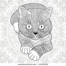 tabby cat coloring pages coloring pages adultshand drawn cat ethnic stock vector 413661826