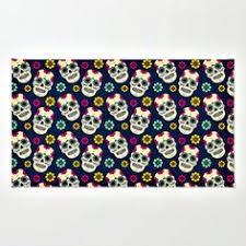 Skull Area Rug Sugar Skull Rug Day Of The Dead Gothic Black Floral Roses Two