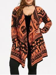 black orange 5xl halloween plus size skull sweater drape cardigan