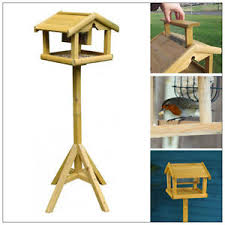 Bird Table L Deluxe Wooden Bird Table With Built In Feeder Free Standing Bird
