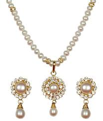 Buy Designer Gold Plated Golden Classique Designer Jewellery Alloy Gold Plated Pearl Studded