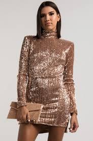 sequin dress high mock neck padded shoulders open back sleeve sequin