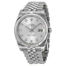 silver rolex bracelet images Rolex oyster perpetual 36 mm silver with 10 diamonds dial jpg