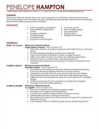 Sample Of General Resume by Warehouse General Labor U003ca Href U003d