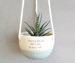 plant hanger with sayings small ceramic hanging planter blue
