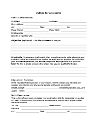 resume worksheet template 5 customizable resume outline templates and worksheets