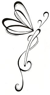 outline celtic dragonfly tattoo stencil