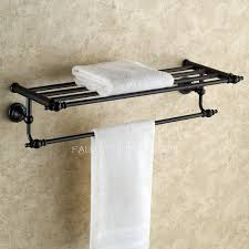 Bronze Bathroom Shelves Hanging Black Rubbed Bronze Towel Shelves For Bathroom