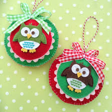christmas felt owl ornaments handmade christmas red and