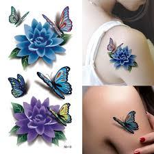 3 sheet 3d waterproof temporary tattoos butterfly flower