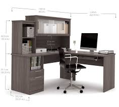 s shaped desk modern bark gray l shaped desk and hutch with frosted glass doors