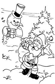 santa gives a gift for snowman in christmas coloring pages