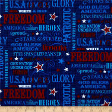patriotic primer words navy from fabricdotcom designed by color