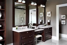 Bathroom Dark Double Bathroom Vanities With Makeup Area Under - Bathroom vanitis 2