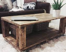 Wood Coffee Table With Storage Reclaimed Wood Coffee Table Etsy