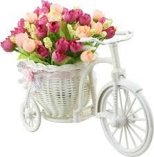 artificial flower tiedribbons cycle vase beutiful peonies plastic flower basket with