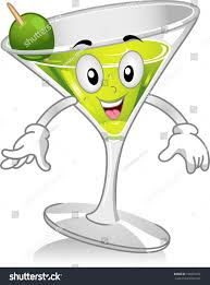 martini olive clipart mascot illustration featuring glass martini stock vector 105597272
