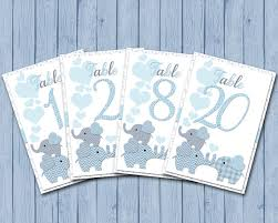 elephant table number cards blue grey baby shower diy table