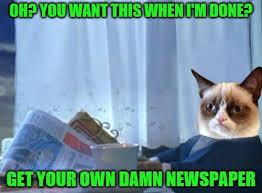 Newspaper Cat Meme - grumpy newspaper cat memes imgflip