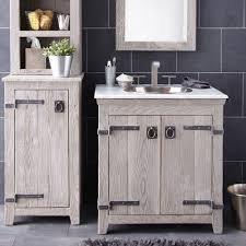 Vanity And Mirror Bathroom Reclaimed Wood Floating Vanity With White Sink And Black