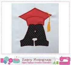 monogram graduation cap graduation cap monogram a applique school letter a applique