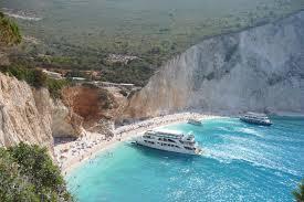 cruise boats on the beach porto katsiki of lefkada greece