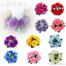 decorative flower buy floral candle rings wedding centerpieces silk roses flowers