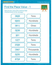 find the place value u2013 1 u2013 place value worksheet for 7th grade