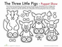 pigs finger puppets worksheet education