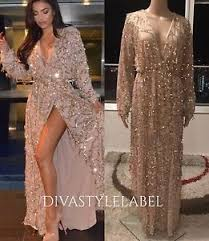 gold sequin long sleeve formal gown cocktail party evening prom