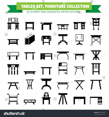 dinner silhouette vector furniture flat icons silhouette different stock vector