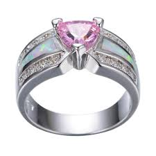 gold engagement rings uk pink heart sapphire opal white gold filled wedding ring