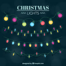pack of colored lights of christmas vector free download