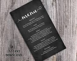 chalkboard wedding menu template diy menu card template editable