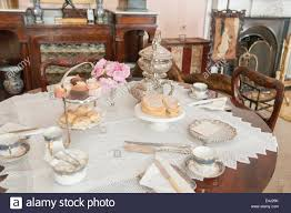 how to set a formal table formal table set for afternoon tea in a british stately home stock