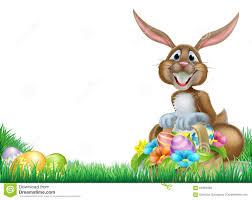 bunny basket eggs easter egg hunt rabbit stock vector image 64069468