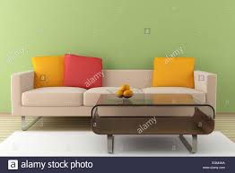 Modern Beige Sofa by Modern Interior With Beige Sofa And Table In Front Of Green Wall